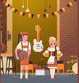 couple in pub wearing traditional clothes drink vector image vector image