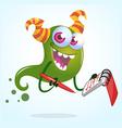 Cute cartoon green horned ghost with pen an