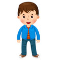 cute cartoon little boy character vector image vector image
