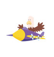 cute eagle flying an airplane funny pilot flying vector image vector image