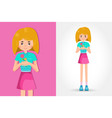 cute little girl holding a flower vector image