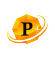 diamond swoosh initial p vector image vector image