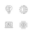 digital technology icons set ai iot hi-tech vector image