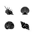 exotic sea shells black glyph icons set on white vector image