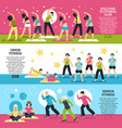 fitness classes horizontal banners set vector image vector image