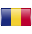 Flags Romania in the form of a magnet on vector image vector image
