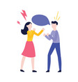 flat man woman negotiate speech bubble vector image