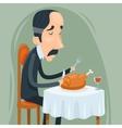 Gaunt Aristocrat Man Eat Roasted Chicken with Wine vector image vector image
