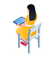 girl sit on chair with tablet icon isometric vector image