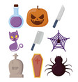 halloween celebration set icons vector image
