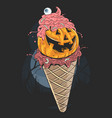 halloween pumpkin ice cream artwork vector image vector image