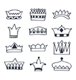 Hand drawn crowns set Sketch crowns collection vector image