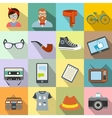 Hipster style flat icons set vector image vector image