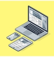 Isometric laptop on a yellow background Tablet vector image vector image