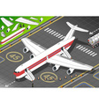 Isometric White Airplane Landed in Front View vector image