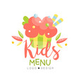 kids menu logo design healthy organic food vector image vector image
