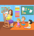 language lesson teacher and pupils school vector image vector image