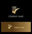 list check mark gold logo vector image