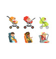 little toddlers sitting in baby carriage or pram vector image vector image
