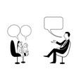 man cat and dog are talking black outline vector image vector image