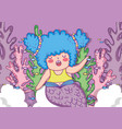 mermaid woman with fishes and seaweed plants vector image vector image