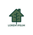 minimalist logo of house and tree leaf vector image vector image