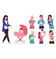 moms with newborn babies happy motherhood vector image vector image