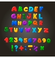 Multicolored kids Font letters numbers and vector image