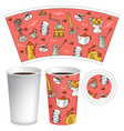 paper cup for hot drink with coffee-themed doodles vector image