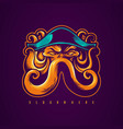 pirate octopus mascot design vector image vector image
