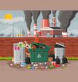 plant smoking pipes garbage bin full trash vector image