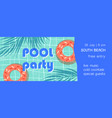 pool party flat banner template summer vector image vector image