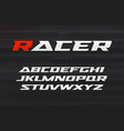 racing font aggressive and stylish lettering vector image vector image