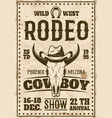 rodeo show advertisement poster in retro style vector image vector image