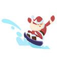 santa claus riding snowboard vector image