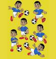 set cartoon kid soccer player vector image vector image