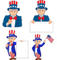 set cartoon uncle sams in different poses vector image vector image