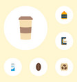 set of beverage icons flat style symbols with vector image