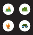 set of camp icons flat style symbols with forest vector image