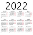simple calendar 2022 monday vector image vector image