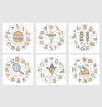 six linear concept of picnic food and equipment vector image vector image