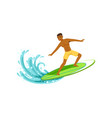 smiling african american man with surfboard vector image vector image