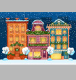 snow-covered city street under snowfall vector image vector image