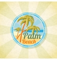 Summer palm beach retro background vector image vector image