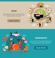 sushi banner set vector image vector image