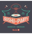 Sushi patry poster vector image vector image
