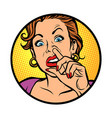 symbol iconwoman picking nose vector image vector image