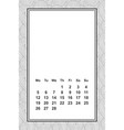 template calendar for month 2 0 1 8 hand vector image vector image