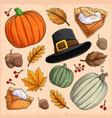 thanksgiving elements collection pumpkin pie vector image