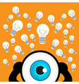 The blue eye thinking with many idea vector image vector image